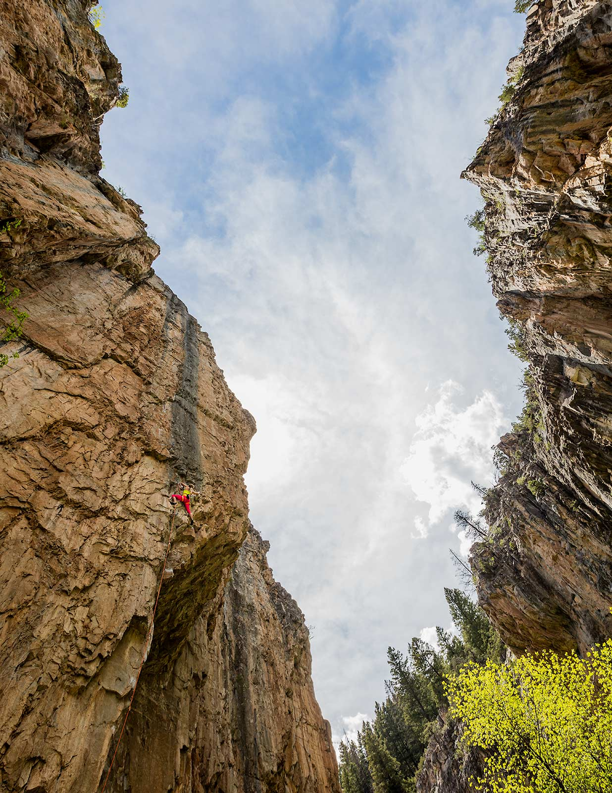 A unique perspective of a professional female rock climber ascending a rock wall