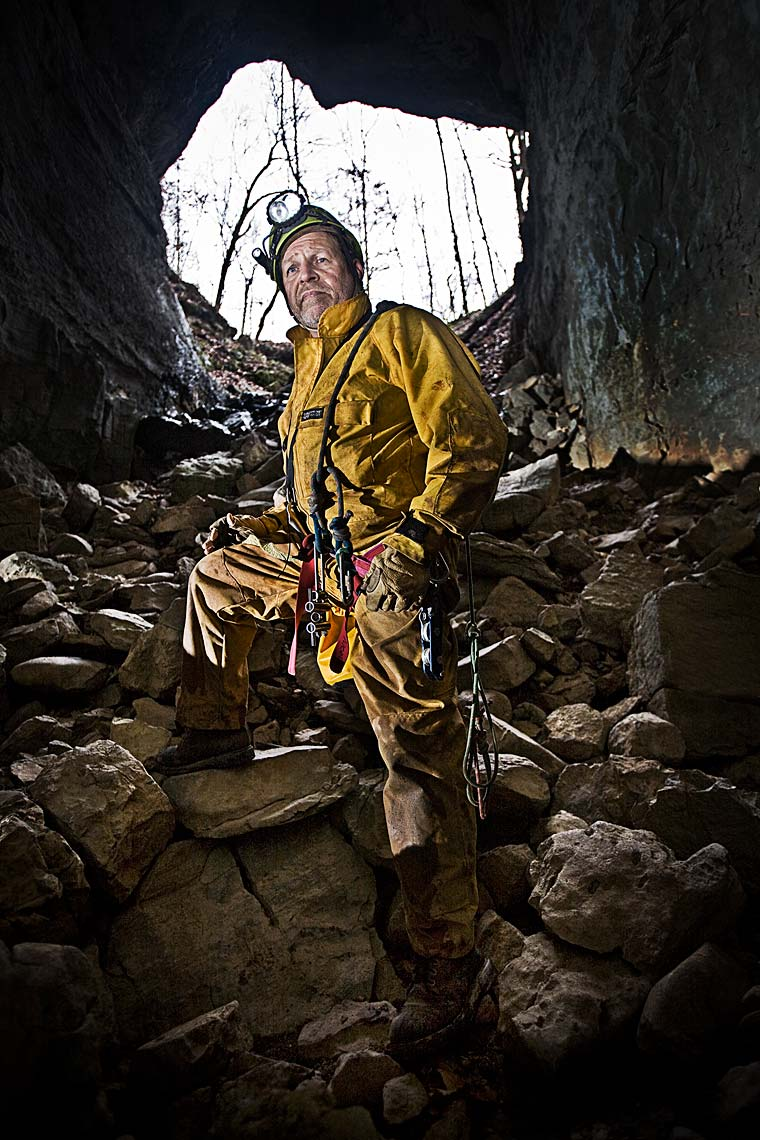 Portrait of famous explorer adventure writer Chris Nicola in US Cave