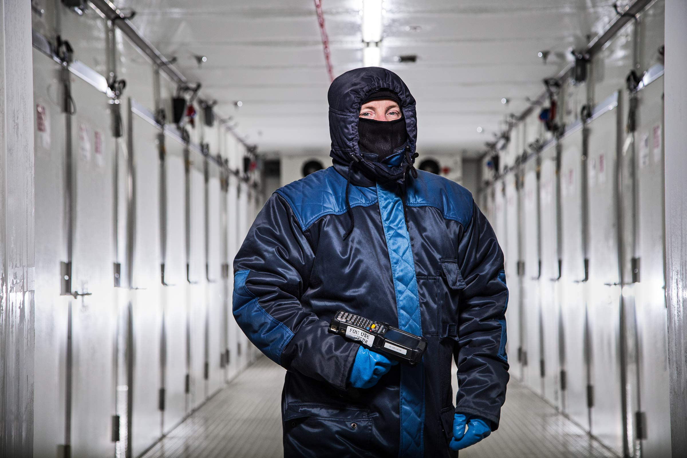 Portrait of a worker wearing protective suit in Subzero freezer Ireland