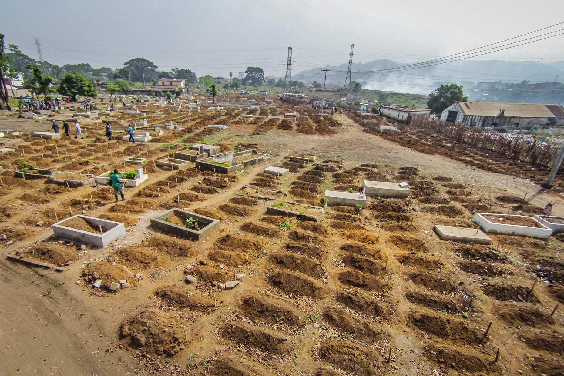Aerial view of Ebloa graveyard showing the sheer number of fresh graves