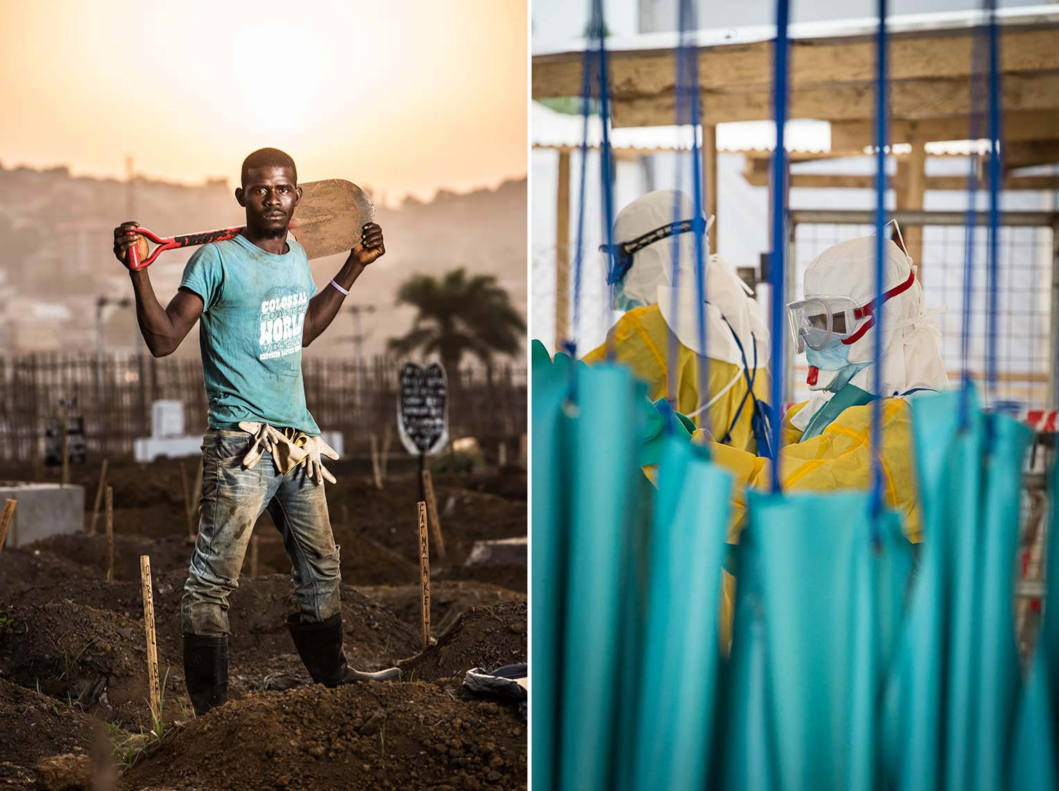 Portrait of Gravedigger at sunset in Ebola Graveyard Freetown Sierra Leone
