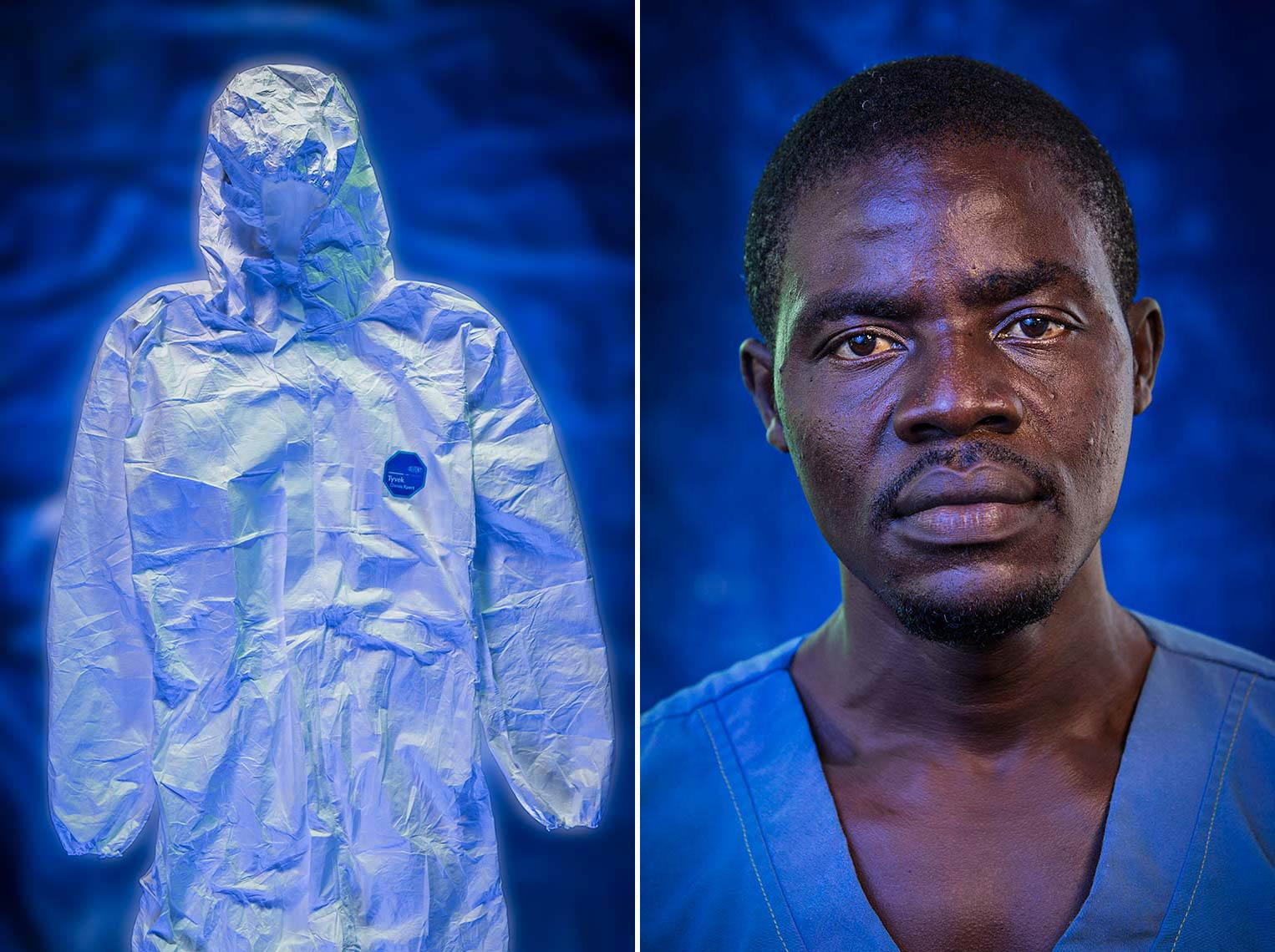Dramatic location studio portraits of Ebola Hospital personnel