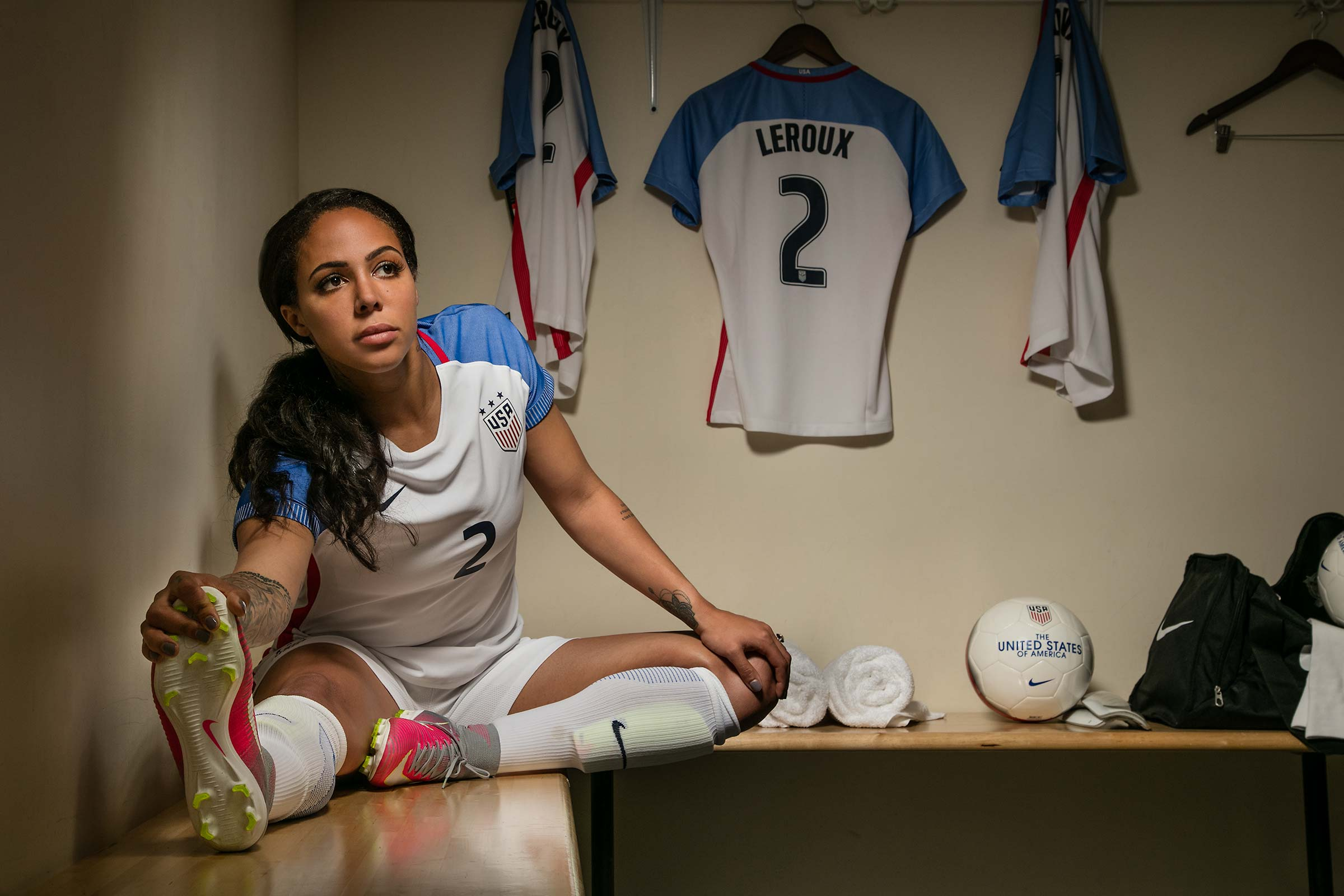 Portrait of Team USA Professional soccer player Sydney Leroux in Locker room