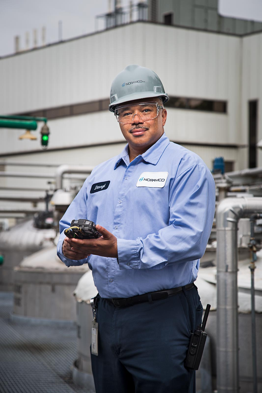 Portrait of African American Industrial worker in manufacturing facility