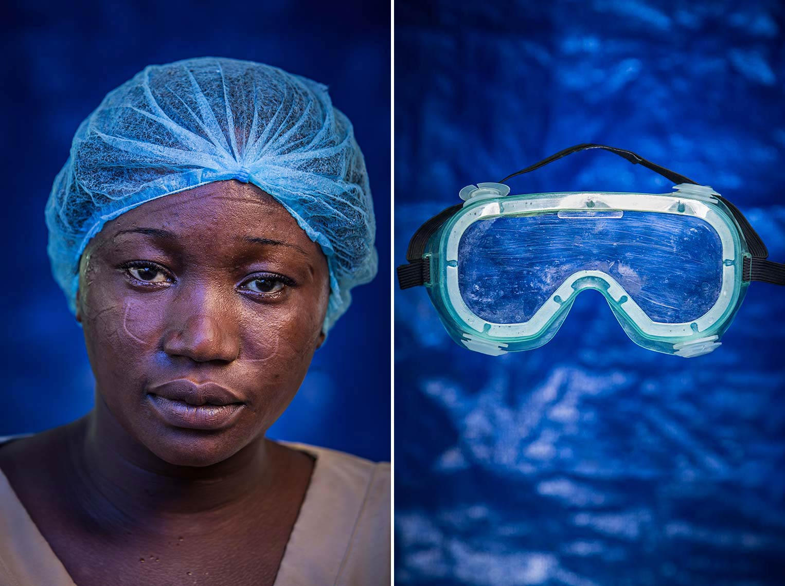 Portrait of weary staff member in Ebola Hospital on blue background